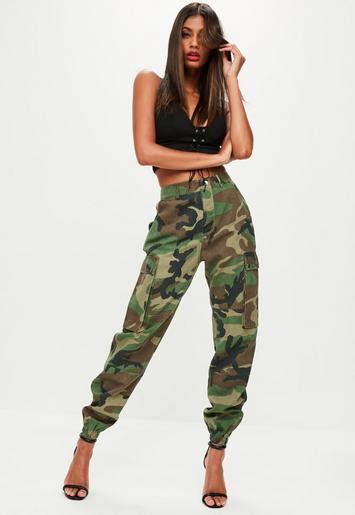 Khaki Vintage Print Oversize Top green camo printed cargo trouser missguided