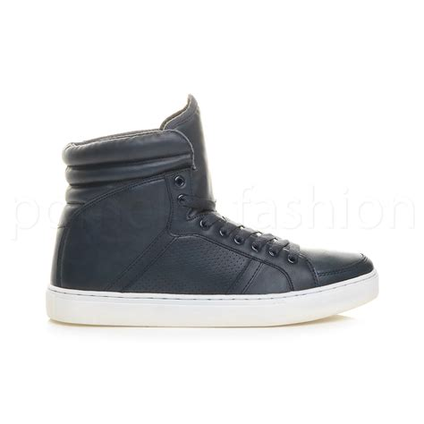 ankle sneakers mens casual flat lace up hi high top ankle trainer boots