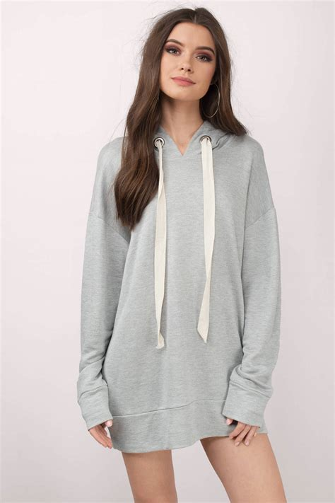 Dress Hodie trendy grey day dress oversized sweater dress