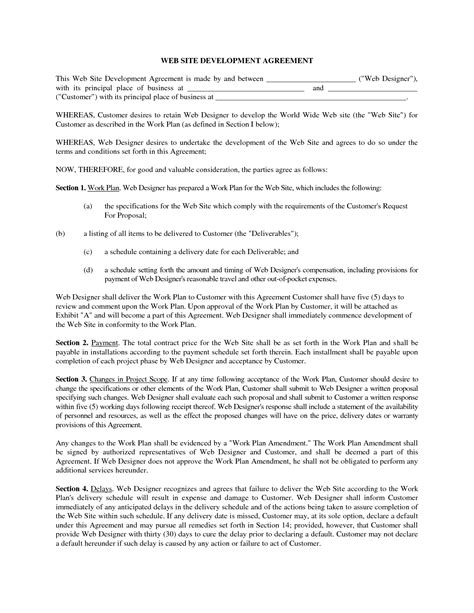 Agreement Letter For Website Website Development Contract Template Free Printable