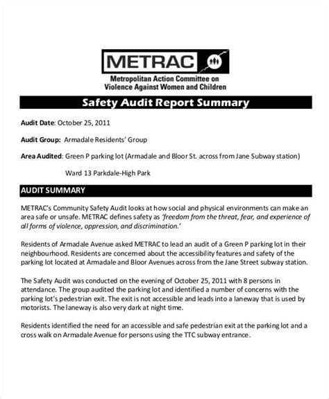 safety audit report template safety audit report templates 13 free pdf format