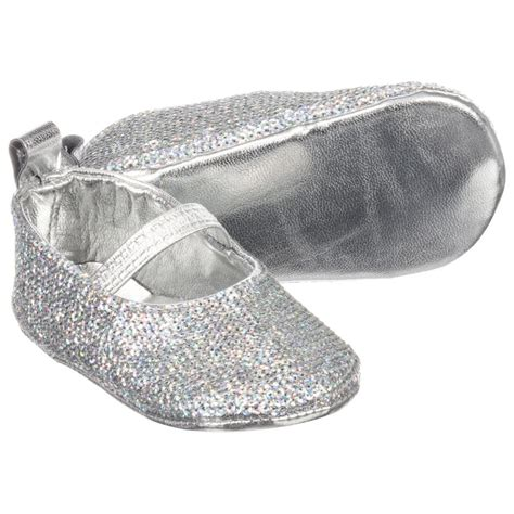 silver baby shoes couche tot silver glitter baby shoes childrensalon