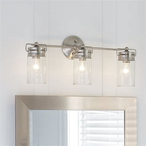 bathroom vanity lights up or allen roth 3 light vallymede brushed nickel bathroom vanity light includes eclectic jar style
