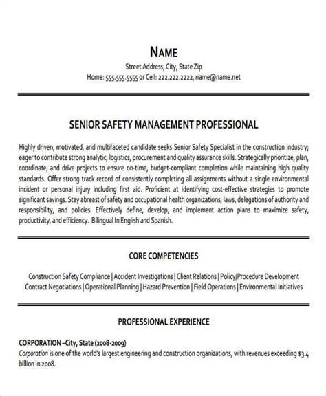 construction safety manager sle resume 43 manager resumes in pdf