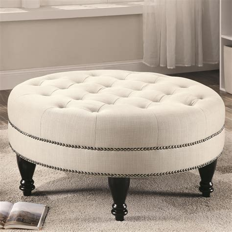 circular ottomans 500018 oatmeal large round ottoman from coaster 500018