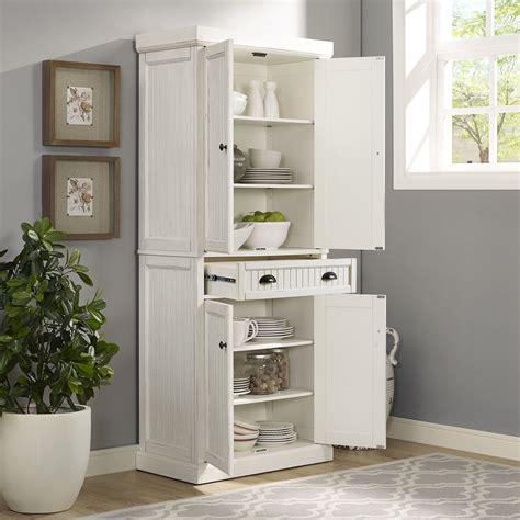 seaside kitchen pantry  distressed white finish crosley