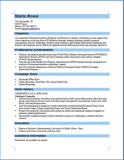 Formato Europeo Curriculum Vitae Tedesco Curriculum Vitae Formato Europeo Compilato Insegnante