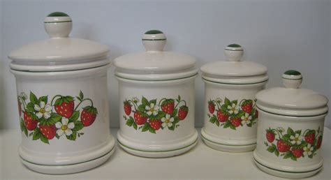 country kitchen canister sets sears strawberry country kitchen canister set 4 total made