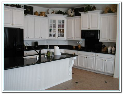 Kitchen White Cabinets Black Granite White Cabinets With Granite Countertops Home And Cabinet Reviews