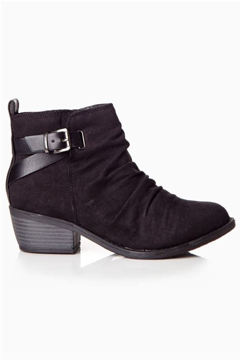 black buckle suede ankle boots