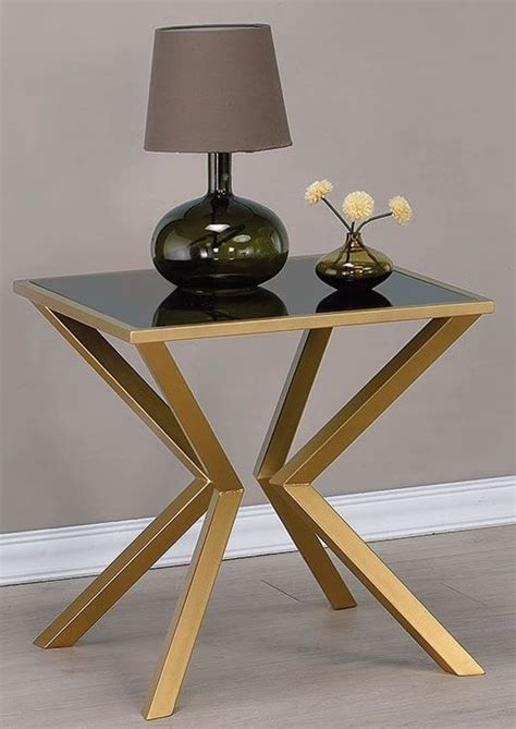glass and brass end tables black glass and brushed brass end table 705187 coaster