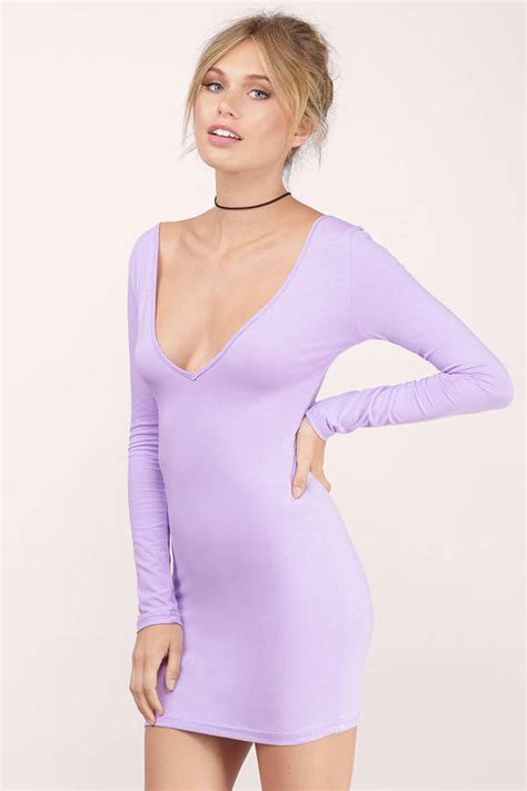 light purple bodycon dress lavender bodycon dress purple dress deep v dress 10