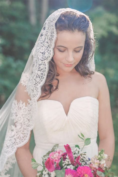 Lace Wedding Veil chapel length mantilla veil lace mantilla veil lace