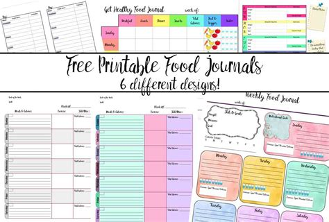 food and exercise journal template free printable food journal 6 different designs