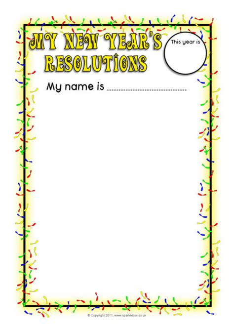 new year page border sparklebox new year s resolutions writing frames sb7021 sparklebox