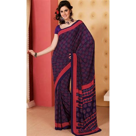 Blouse Crepe Import Best Seller Royal Blue Faux Crepe Saree With Blouse Shopping