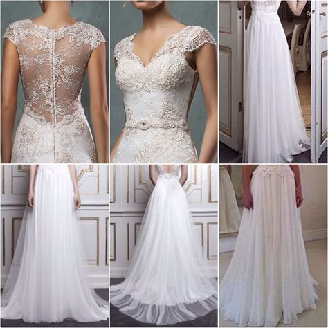 Chiffon Lace Dress lace top and chiffon bottom combined bridal dress