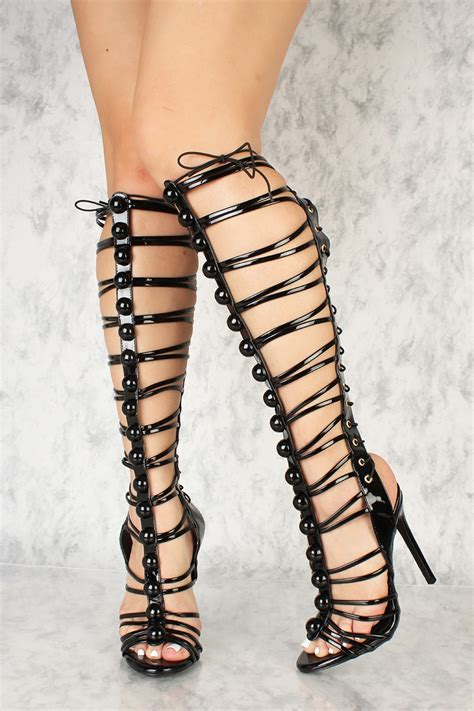 knee high strappy heels black strappy lace up single sole knee high heels