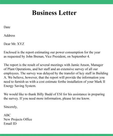 formal business letter format samples