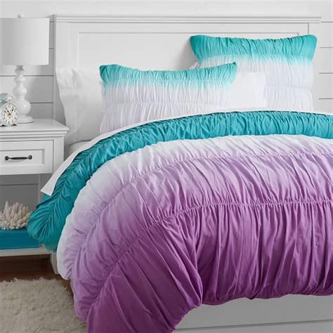 purple ruched comforter surf dip dye ruched duvet cover sham pool purple pbteen