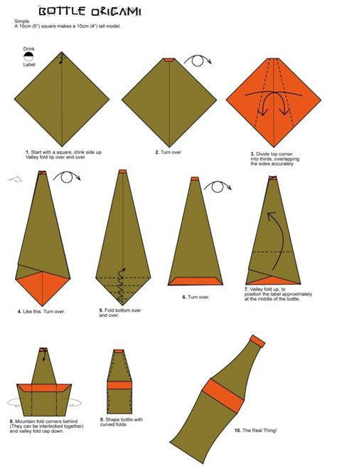 Free Origami Diagrams - free coloring pages bottle origami folding diagram
