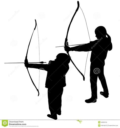 Bow Hunting Blind Plans Children Silhouettes Playing Archery Stock Vector Image