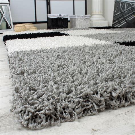 teppich 80x300 shaggy teppich hochflor langflor gemustert in karo grau