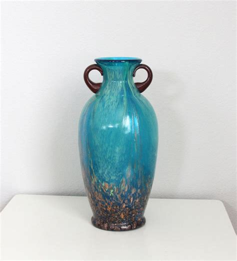 dale glass vase blue teal with copper inlay