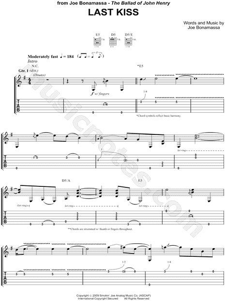 last kiss tutorial guitar joe bonamassa quot last kiss quot guitar tab in g major download
