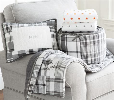 madras baby bedding gray pottery barn