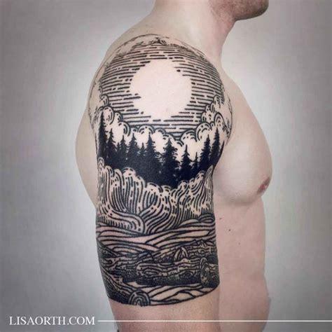 tattoo etching pattern etching tattoo landscape best tattoo ideas gallery