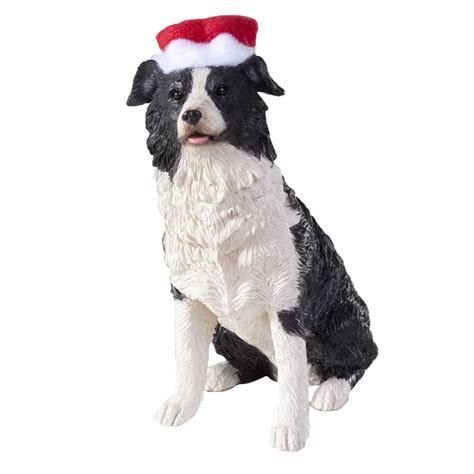 border collie with hat christmas ornament at baxterboo
