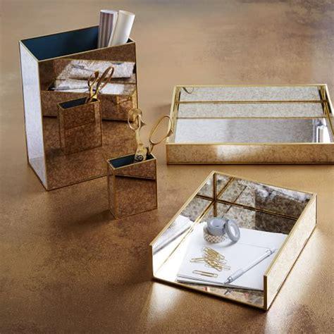 Foxed Mirror Office Accessories West Elm Mirrored Desk Accessories