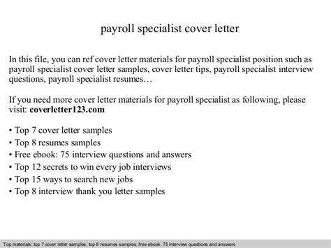Payroll Analyst Cover Letter by Payroll Specialist Cover Letter