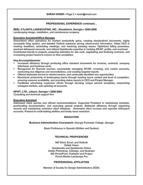 executive assistant resume exle sle