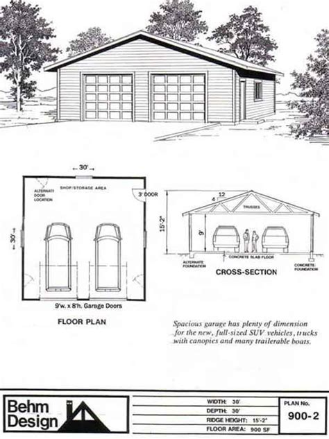 garage and shop plans oversized 2 car garage plan 900 2 30 x 30 by behm design garage plans by behm design pdf