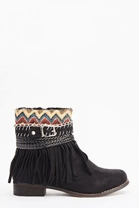 Hnm Flat Shoes aztec fringed flat boots just 163 5
