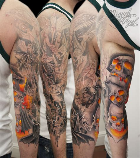 angels and demons battle with skull in colour tattoo flickr