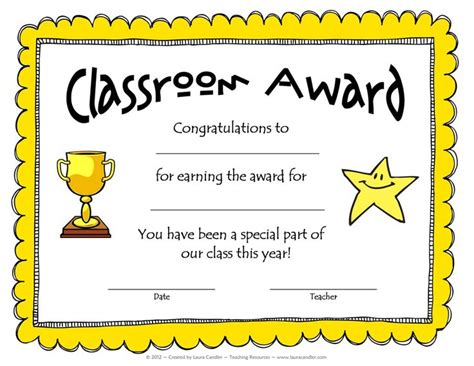 Free Award Template From Laura Candler School Pinterest Teaching Wraps And Teaching Free School Award Certificate Templates