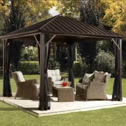 10 X 12 Hardtop Gazebo With Mosquito Netting by Garden Outdoor Gazebo Hardtop Steel Roof Waterproof Metal