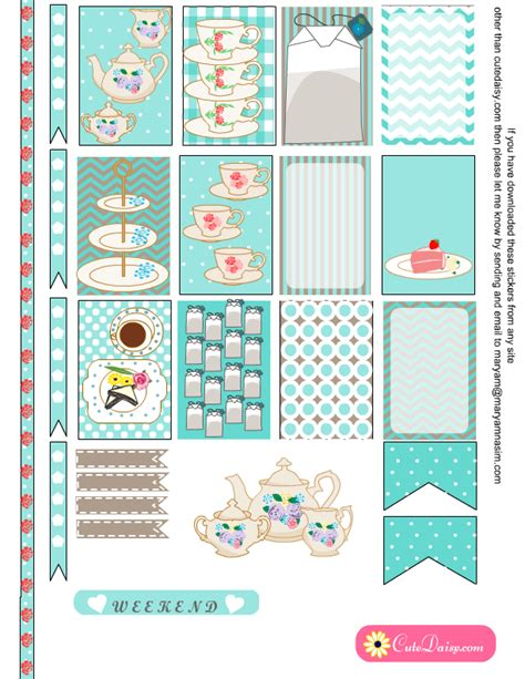 happy planner free printable stickers english tea themed stickers for happy planner and eclp