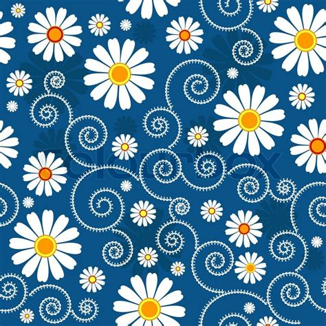 floral pattern in blue dark blue floral pattern with white flowers vector