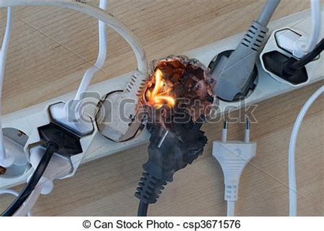 European Style Home Plans Stock Image Of Electrical Fire Fire In Overloaded Power