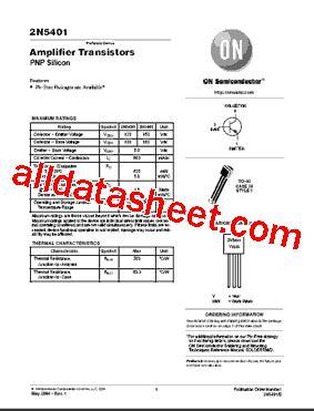 transistor lifiers pdf 2n5401 datasheet pdf on semiconductor