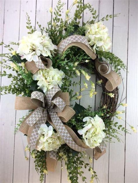 front door wreath hydrangea wreath white hydrangea