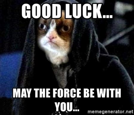 May The Force Be With You Meme - good luck may the force be with you grumpy cat