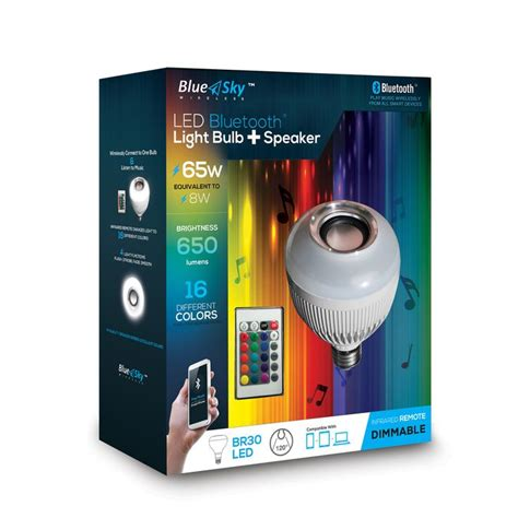 bluetooth light bulb speaker lowes blue sky wireless 8 watt 65w equivalent 3 000k medium
