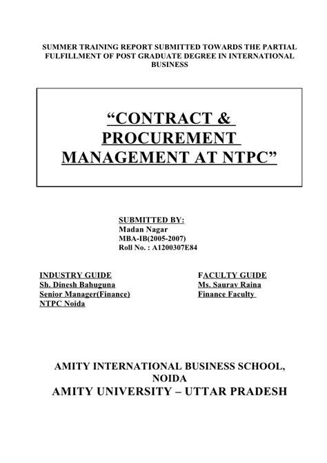 Mba Procurement And Contract Management by Contract Procurement Management Report Of Ntpc