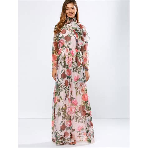 Longdress Maxi Siena wholesale vintage chiffon sleeve floral print floor length maxi prom dress l pink