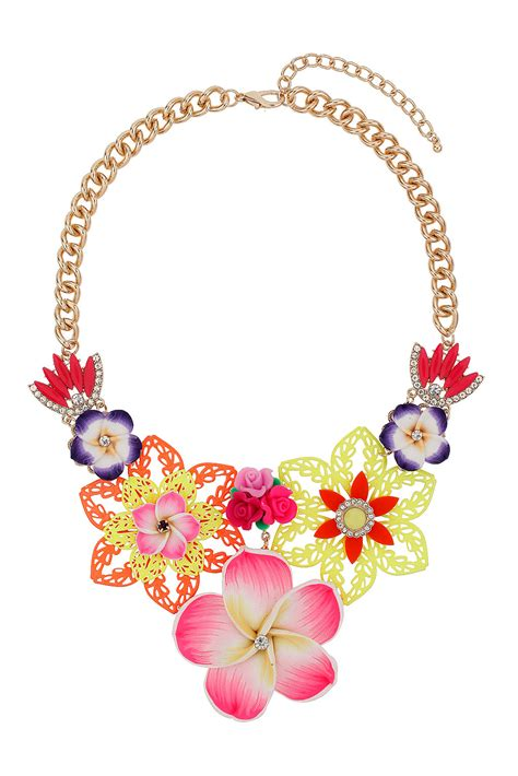 topshop brightly coloured flower necklace in pink lyst